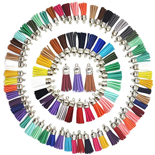 100pcs 40 mm Leather Tassel Pendants Faux Suede Tassel 25 Colors, Doubletwo Mixed Tassel Pendants with Caps for Key Chain Straps DIY Accessories