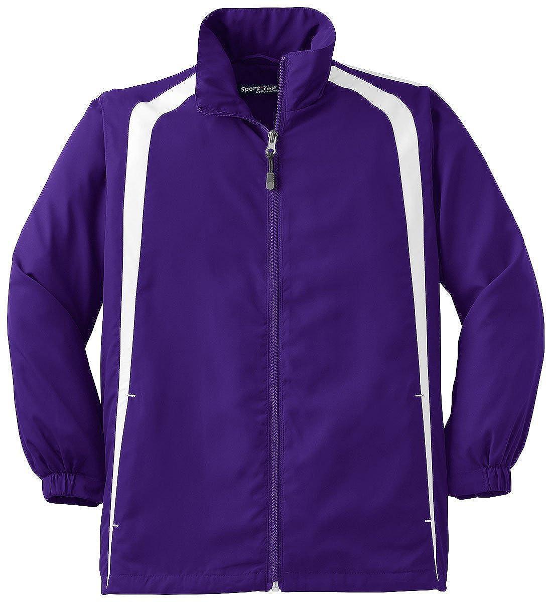 Sport-Tek Youth Colorblock Raglan JacketXL Purple//White YST60