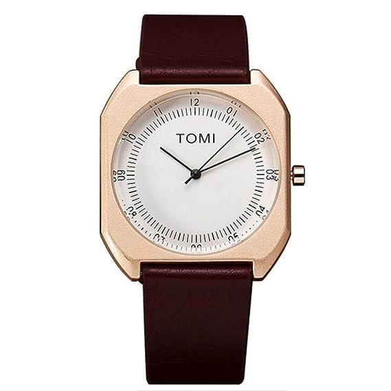 Tomi (T068) lujo calidad cuarzo piel japanese-quartz para mujeres y hombres relojes: Amazon.es: Relojes