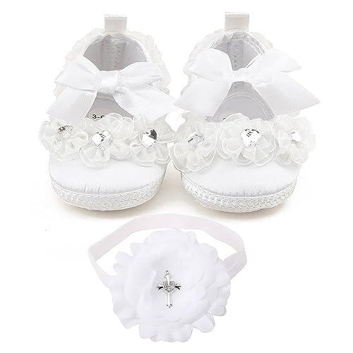 b8d52ba70 DELEBAO Zapatos Bebe Niña Zapatillas para Bebes Blancos Zapatos Bebe Bautizo  Primeros Pasos  Amazon.es  Zapatos y complementos