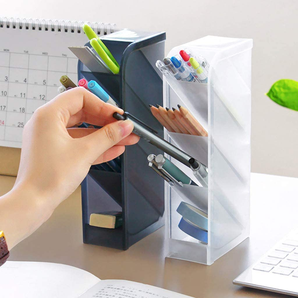 Black Multi-Functional Pen Holder Box with 4 Compartments Fulijie Desk Organizer Home Office Supply Storage Rack Desktop Stationary