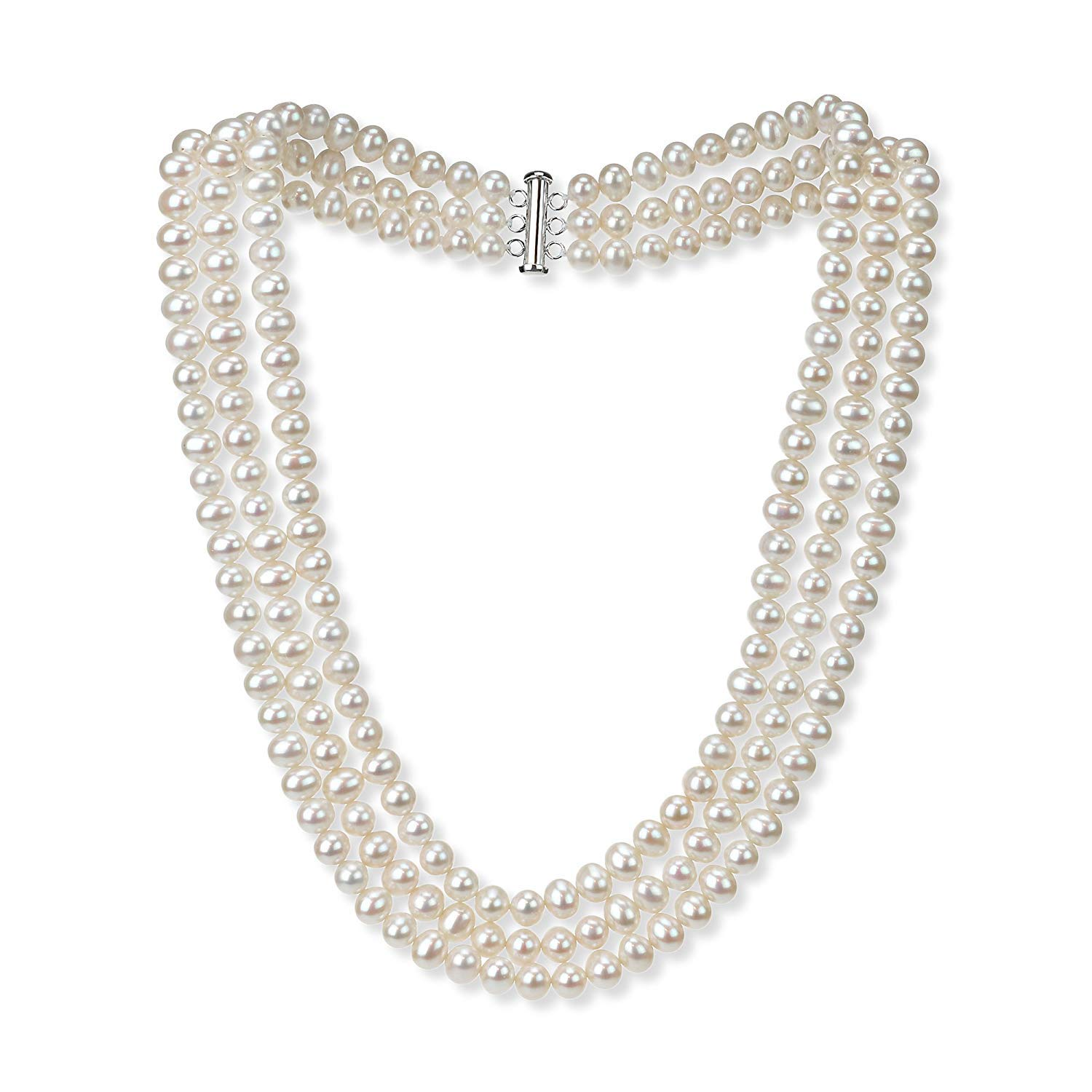 Sterling Silver 6.5-7mm 3 Strand White Freshwater Cultured High Luster Pearl Necklace Jewelry for Women 18'' by La Regis Jewelry