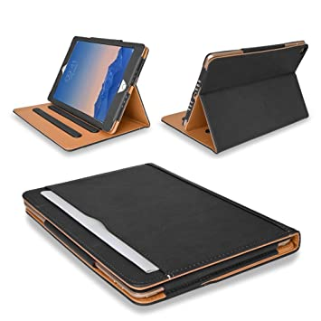 32805de0fae9 MOFRED® Black & Tan Apple iPad Air 2 (Launched 2014) Leather Case-Voted #1  Best iPad Case by