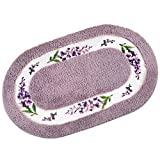 Collections Etc Lavender Floral 20''x32'' Skid-Resistant Bath Mat, Purple