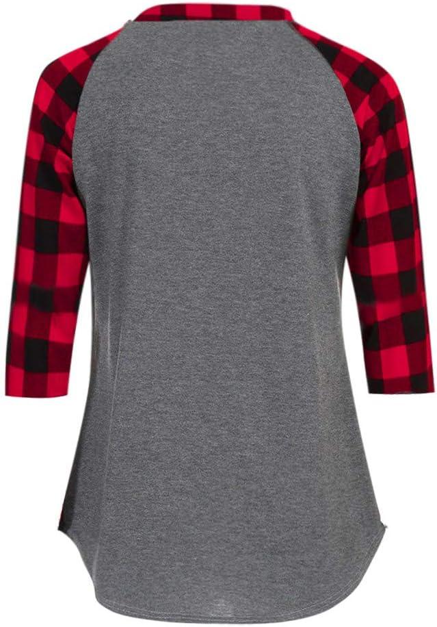 DEELIN Moda para Mujer Breve O-Cuello 3/4 Manga Camisa A Cuadros Sudadera Pullover Tops Tops Blusa Suelta: Amazon.es: Ropa y accesorios
