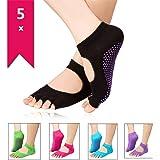Sungpunet 5 Pairs Toe Yoga Pilates Socks Non Slip Skid Barre Sock with Grips for Women/Men