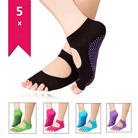 Isuper 5 Pares Calcetines Socks Antideslizantes con Dedos Descubiertos Yoga Pilates Danzas Tobilleros Mujeres