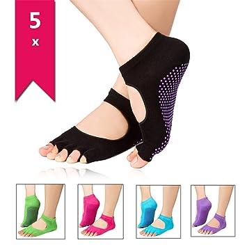 Isuper 5 Pares Calcetines Socks Antideslizantes con Dedos Descubiertos Yoga Pilates Danzas Tobilleros Mujeres: Amazon.es: Deportes y aire libre