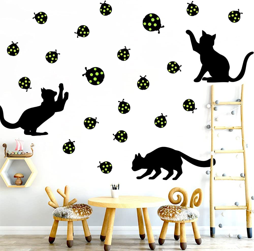 Cat Wall Decals,Baby Nursery Decor Kids Room Wall Stickers with Glow in The Dark Ladybug Kids Wall décor Removable DIY Decorations for Bedroom