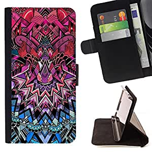 For Sony Xperia T3 / M50W Art Deco Pattern Royal Purple Pink Blue Style PU Leather Case Wallet Flip Stand Flap Closure Cover