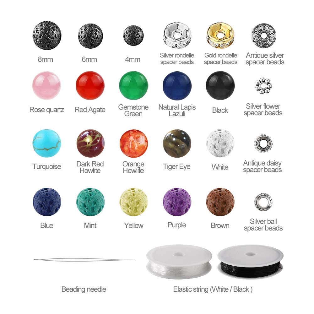 Lava Stone Rock Beads Chakra Beads Spacers Beads with 2 Rolls Elastic String and Needles for Essential Oils Bracelet Necklace Jewelry Making 8mm 6mm 754pcs Lava Beads Kit