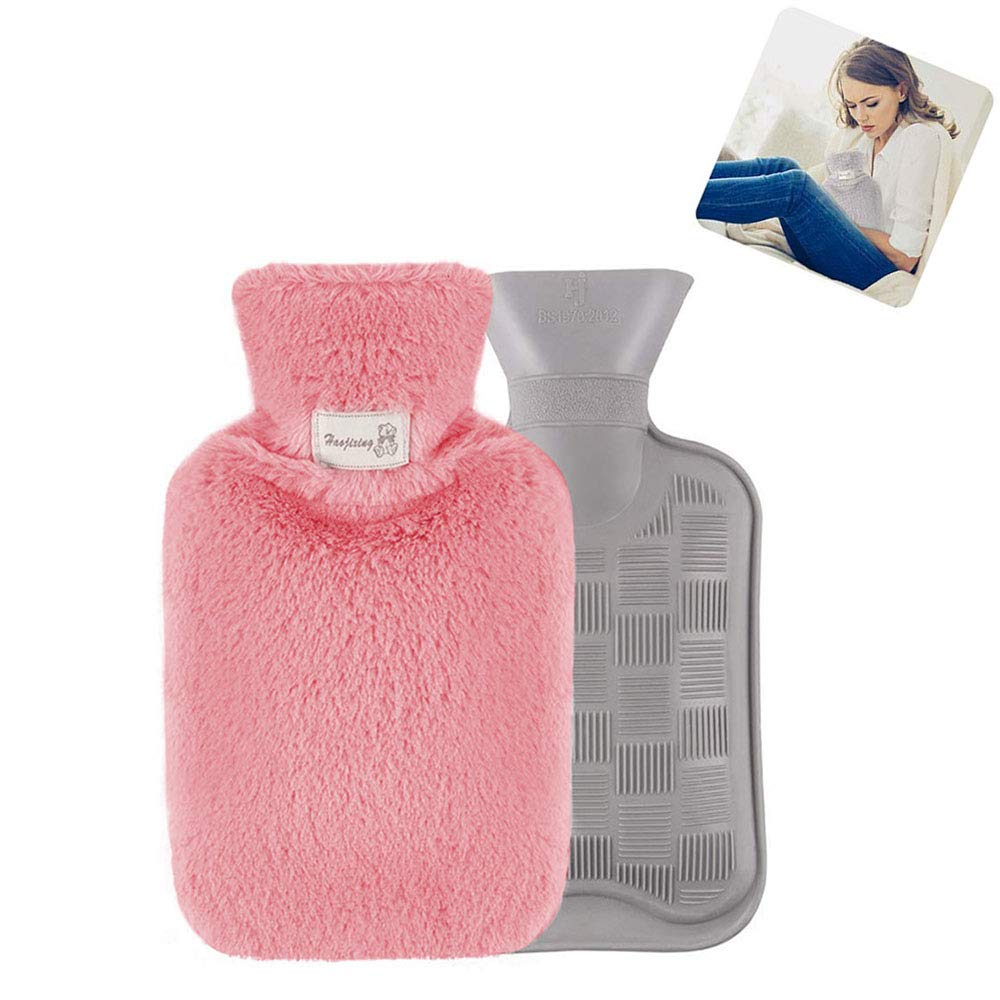 Hot Water Bag, Foonee Natural Rubber Hot Water Bottle with Super Soft Plush Cover, Hot Water Bag for Pain Relief