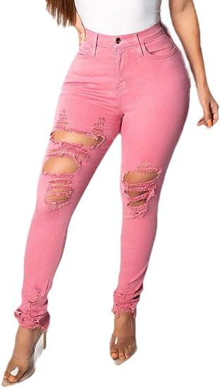 gawaga 女性弾性ピュアカラースリムリッピングホールボディコンジーンズデニムパンツ