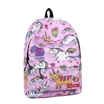 2018 Unicornio Bolsa de Dibujos Animados Niños Bolsas de Escuela para Niñas Mochilas Mochila Escolar Libro Backpack: Amazon.es: Equipaje