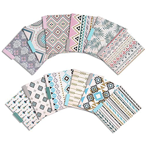 Design Folder - File Folders Set - 12 Count Decorative Filing Folders - 6 Tribal Chic Designs, Letter Size 1/3 Cut 1/2 Inch Top Memory Tab, Classification Filing Organizers - 11.5 x 9 Inches
