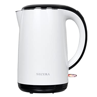 Secura The Original Stainless Steel Double Wall Electric Water Kettle 1.8 Quart (White)