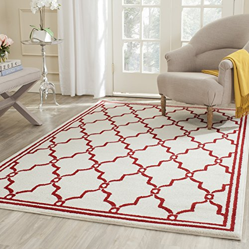 Safavieh Amherst Collection AMT414H Ivory and Red Indoor/ Outdoor Square Area Rug (7' Square)