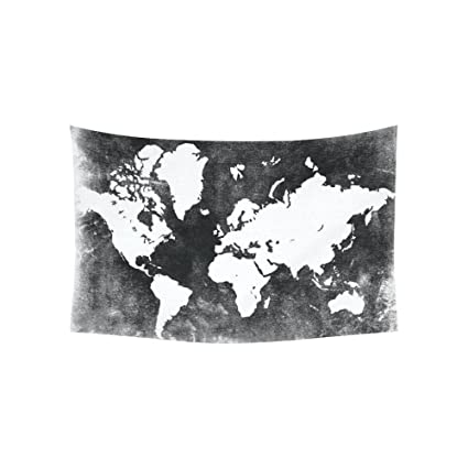 Amazon custom black and white earth world map tapestry wall custom black and white earth world map tapestry wall hanging global map wall decor art for gumiabroncs Choice Image