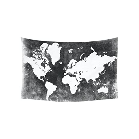 Amazon custom black and white earth world map tapestry wall custom black and white earth world map tapestry wall hanging global map wall decor art for gumiabroncs Image collections