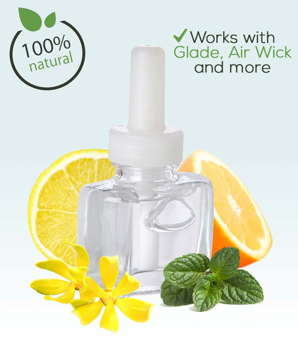 New (3 Pack) - 100% Natural Citrus Floral Fusion Plug in Refill - Fits Glade, Air Wick and More