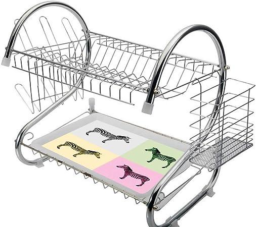 2 niveles Escurridor de platos de acero inoxidable Cebra rosa Bandeja de goteo de secado de cocina Porta cubiertos Cebras en cajas Pop Art Estilizada Avant Garde Influence Graphic,Multicolor,Ahorro de: Amazon.es: Hogar