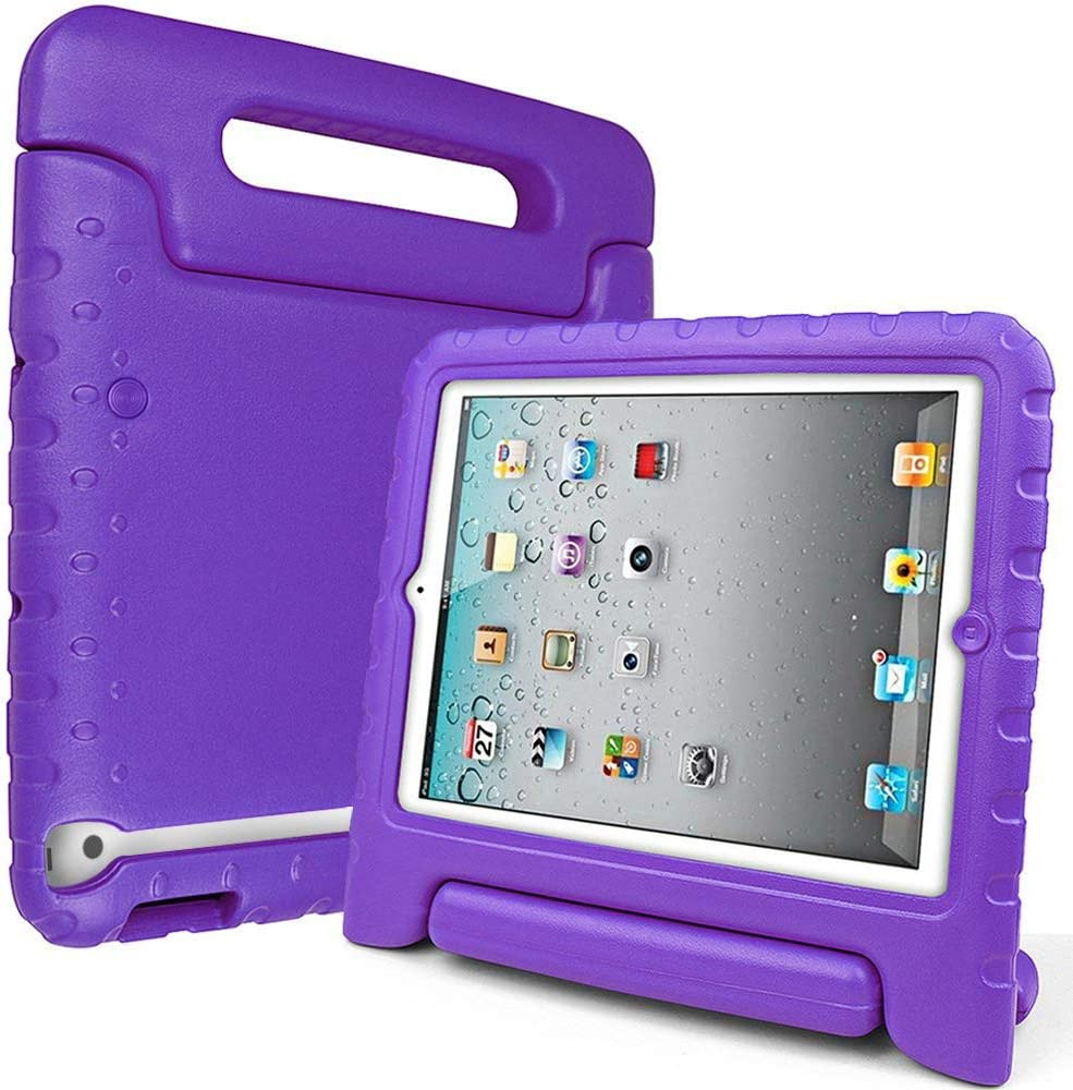 SIMPLEWAY iPad 2, iPad 3, iPad 4 Case, Lightweight Shockproof Convertible Carrying Handle Stand Kids Friendly Cover Compatible with Apple iPad 2, iPad 3rd Gen, iPad 4th Generation Tablet, Purple
