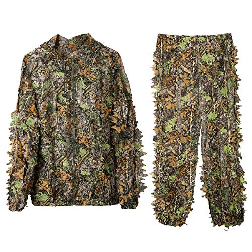 DoCred Ghillie Suit 3D Leaf Realtree Camo Camouflage Lightweight Clothing Suits for Jungle Hunting, Shooting, Airsoft, Wildlife or Halloween (Medium or Large) ()
