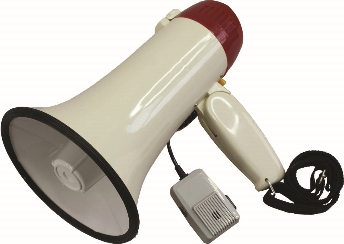 MIYAKO USA - Megaphone Speaker Bullhorn With Rechargeable Battery, Built-in Siren, Adjustable Volume, Ideal for Football, Soccer, Baseball and Hockey