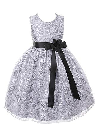 Amazon dressforless silver elegant lace flower girl dress with amazon dressforless silver elegant lace flower girl dress with ribbon sash clothing mightylinksfo