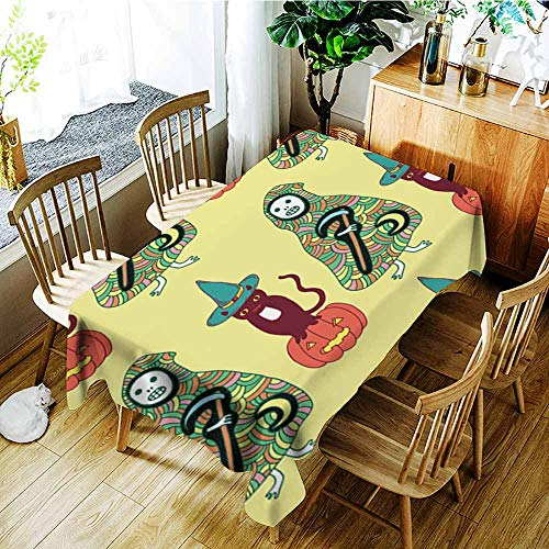 AGONIU Water Resistant Table Cloth,Halloween Seamless Pattern with cat Pumpkin Death Reaper,Dinner Picnic Table Cloth Home Decoration,W54x90L -