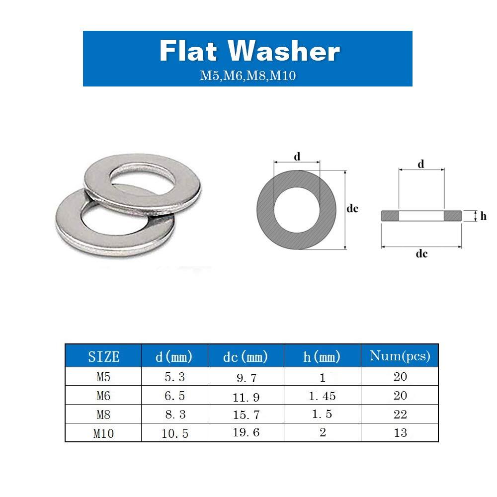 HongWay Washers 1//4 for Screws Bolts Lock and Flat Washers Set Assortment Kit 150pcs Zinc Plated 4 Sizes M5 M6 M8 M10