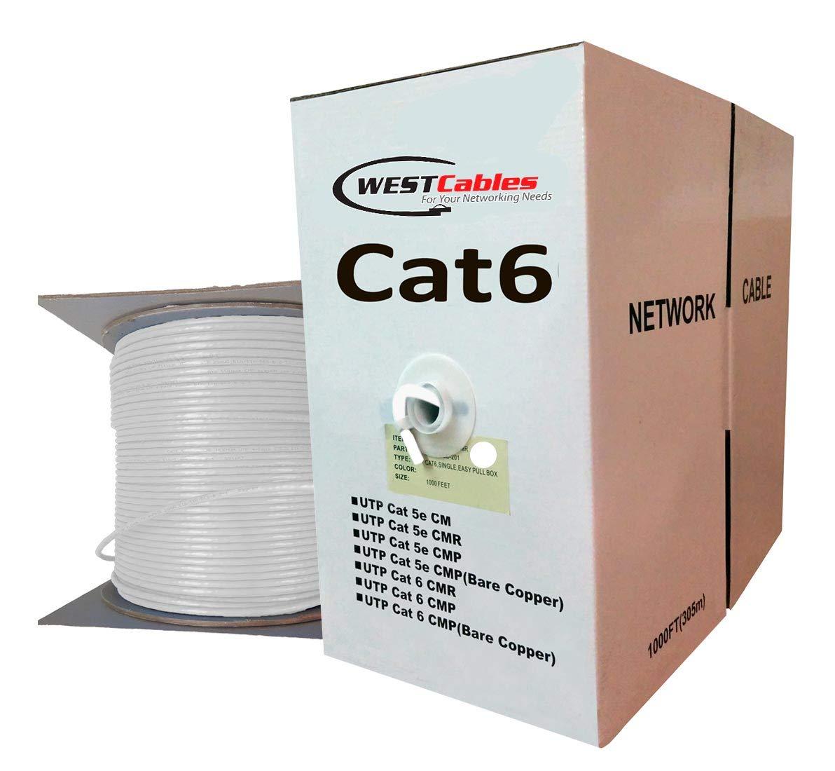 1000ft Cat6 Plenum 550Mhz Ethernet Cable White
