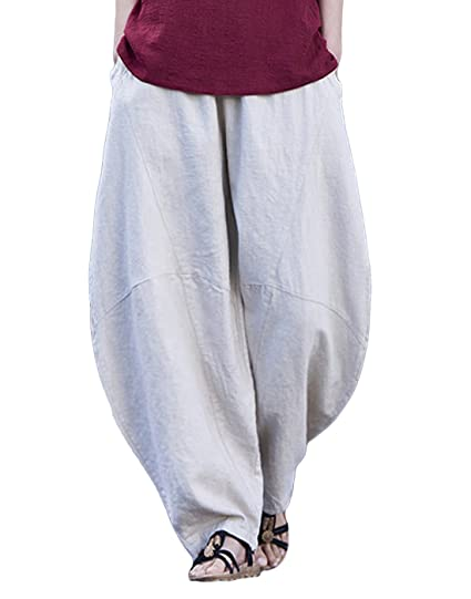 f4d39fbff6 Happy Cherry Femme Pantalon Lin Coton Large Pants avec Poches Taille unique  Pantalon de loisirs Yoga