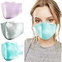 Dienalls Silk Face Mask for Women, Lightweight Mask Breathable Washable Adjustable Ear Loops for Spring Summer, Blue…