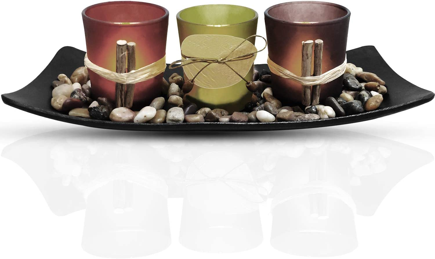 Urban Deco Candle Holders Set of 3 Decorative Vintage Glass Candles Holder - Black Tray and Rustic Stones for Wedding Living Room, Farmhouse, Table Centerpieces.