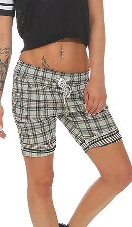 a5394042cfef43 Label by Trendstylez Karierte Damen Jeans-Shorts Bindebändchen Kurze Hose  stone K4454: Amazon.de: Bekleidung