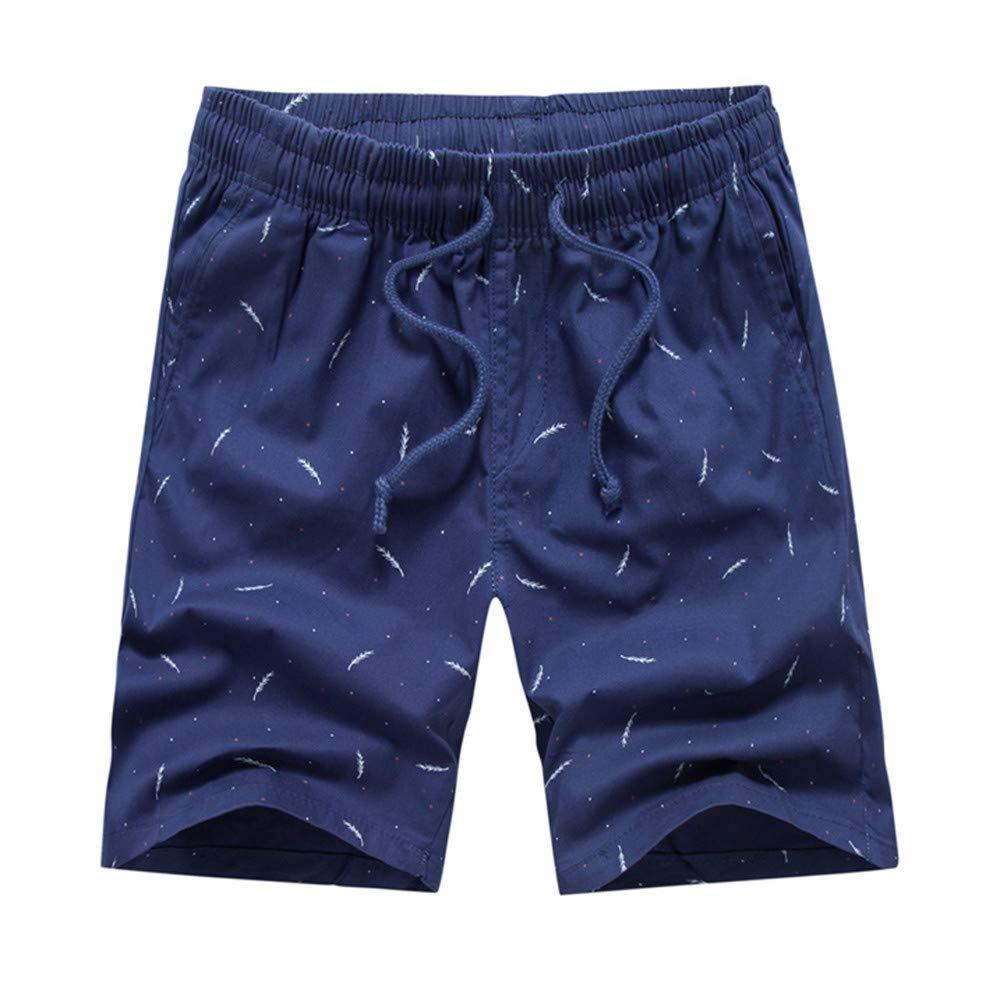 Vickyleb Men's Quick Dry Swim Trunks Colorful Stripe Beach Shorts with Mesh Lining Dark Blue