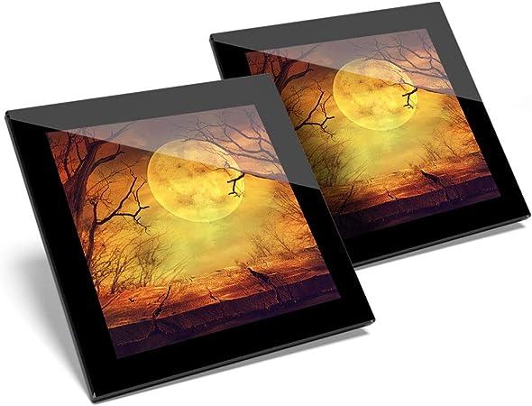 Impresionante juego de 2 posavasos de cristal, diseño de bosque de luna llena de miedo, Halloween, calidad brillante, protección de mesa para cualquier tipo de mesa #16186: Amazon.es: Hogar
