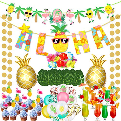 78pcs Hawaiian Luau Party Supplies Aloha Party Banners Flamingo Topper Pineapple Balloons Umbrella Straws For Tropical Party Decorations