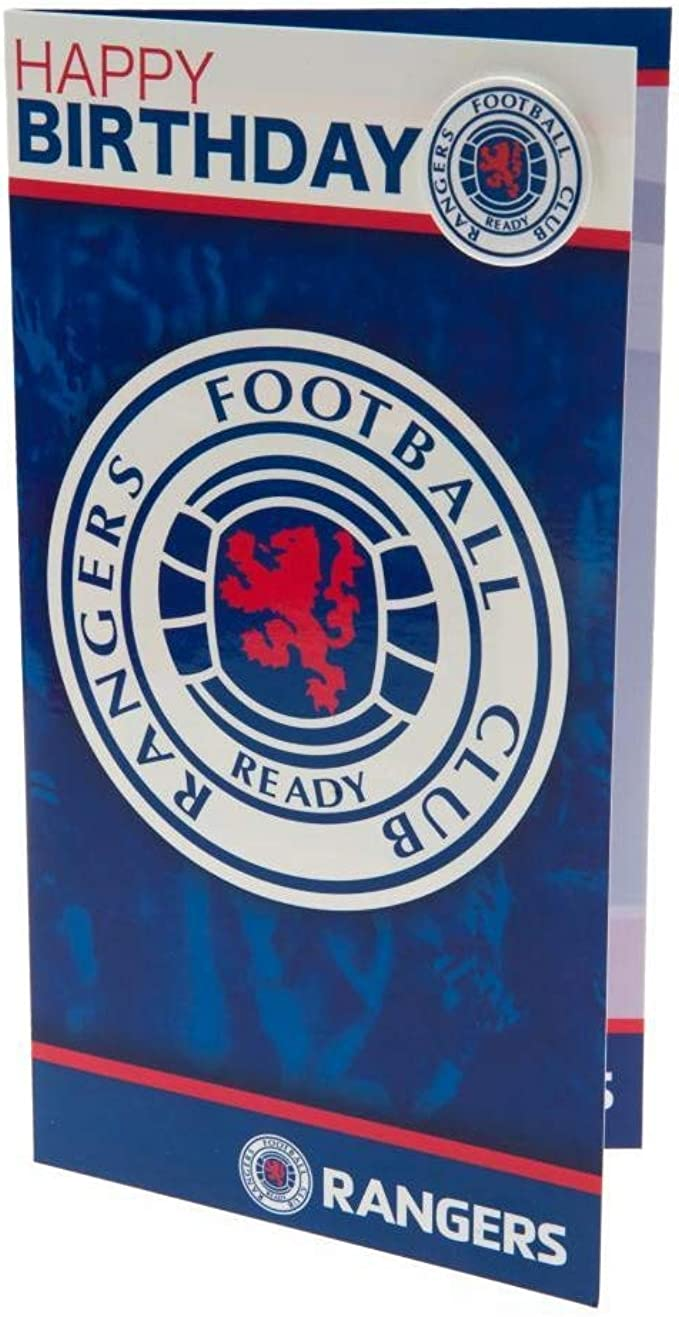 Rangers FC Birthday Card /& Badge Crest New Official Licensed Football Product