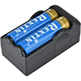 Rextin 18650 BRC Protected Rechargeable Lithium Battery (Pair) 3.7V 4200mAh+ Double 18650 Lithium Battery Charger