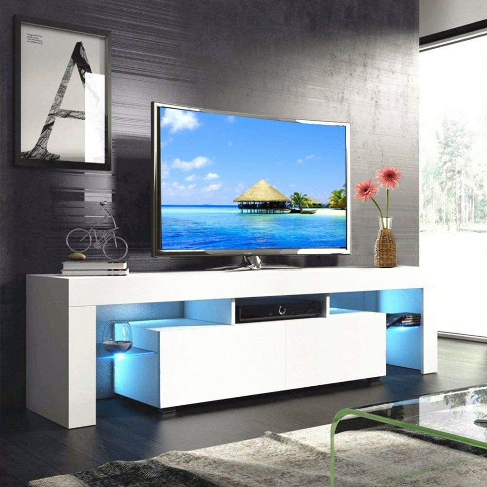 Electronics Newzeroin Modern White Tv Stand With Led Lights Wood Television Stand For 52 Inch Tv Led Tv Stand With Drawer And Shelves Entertainment Center Living Room Bedroom Furniture Accessories Supplies