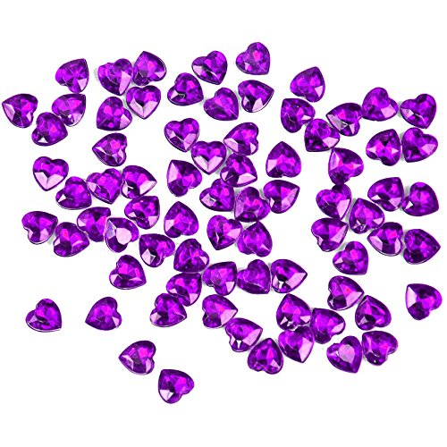 Crystal Valentine Heart (2000 pcs 6mm Acrylic Crystal Red Hearts Shape Tip Back Confetti Wedding Valentines Table Diamond Confetti Party Decoration (Purple))
