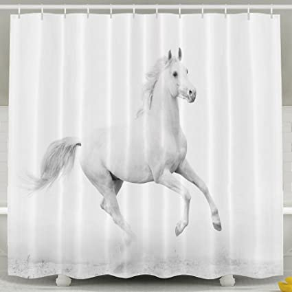 HUANGLING White Stallion Running Horse Gallop Motion Speed Equestrian Shower Curtain 60x72inch