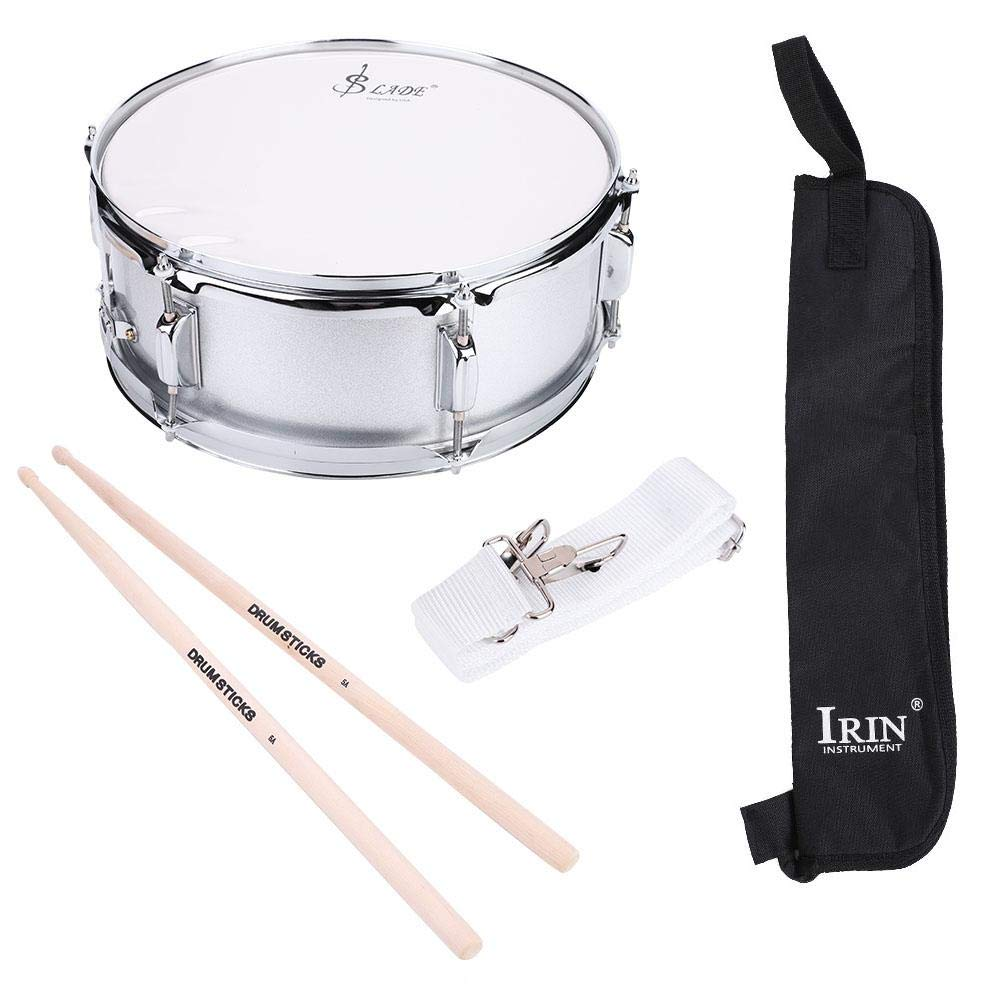 Snare Drum Set, Stainless Steel Shell Snare Drum Beginner Kit Includes Bag Drumstick Strap Silencer Mute for Student Perfect Gift 15.7 x 6.1inch by Yosooo
