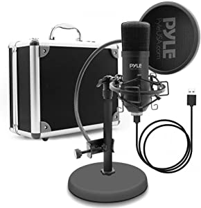 USB Microphone Podcast Recording Kit - Audio Cardioid Condenser Mic w/ Desktop Stand and Pop Filter - For Gaming PS4, Streaming, Podcasting, Studio, Youtube, Works w/ Windows Mac PC - Pyle PDMIKT100