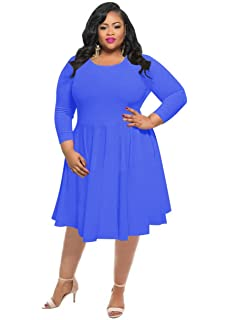 57b6951248bdd KSHUN Women's New Casual Solid Color Long-Sleeve Round Neck Plus Size Dress