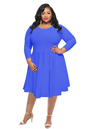 bd7359047b0 KSHUN Women s New Casual Solid Color Long-Sleeve Round Neck Plus Size Dress  Blue