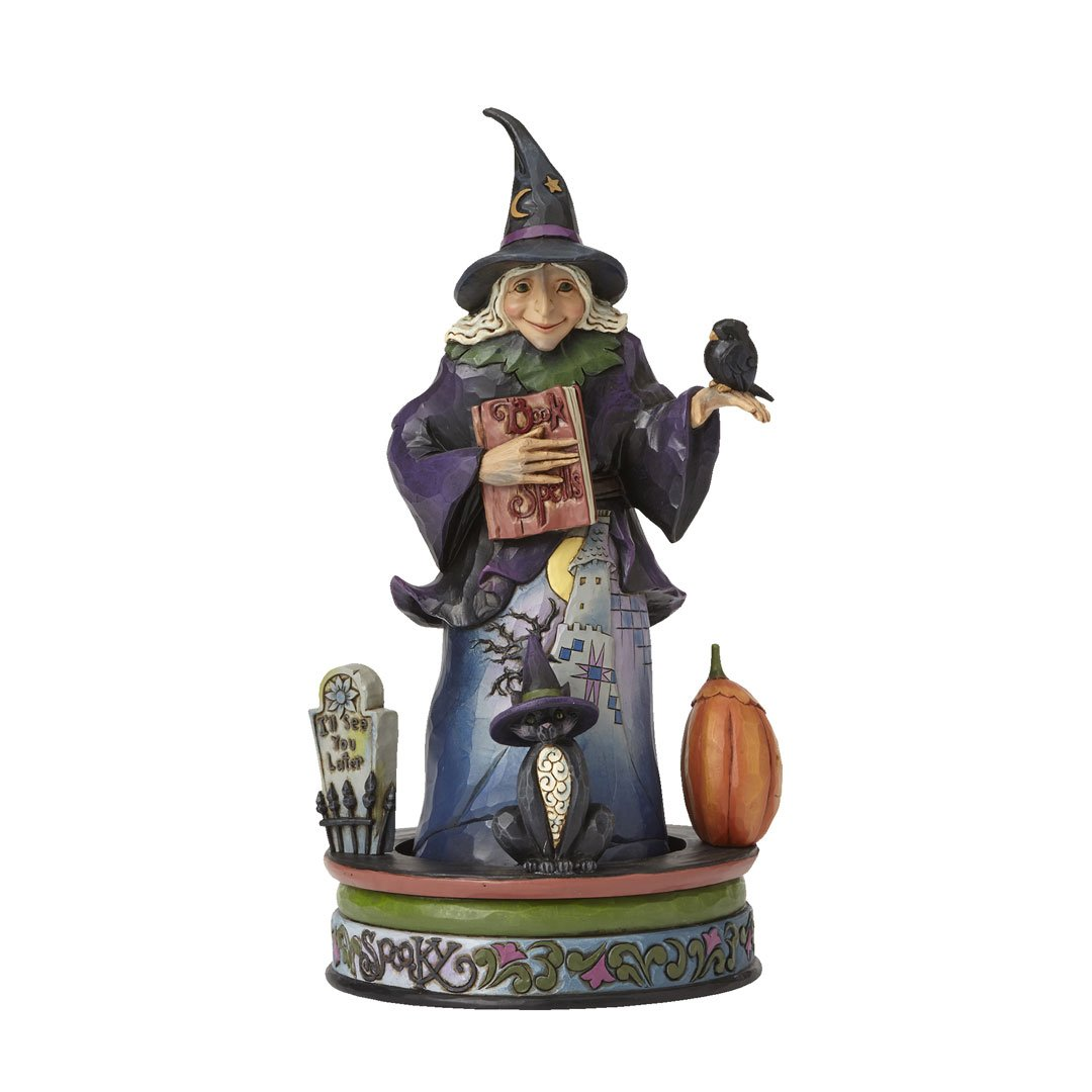 Jim Shore for Enesco Heartwood Creek Wicked Witch with Spells Book Figurine, 9.375