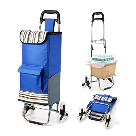 3e923aba4a06 Folding Shopping Cart Extended Handle Stair Climbing Cart with Quiet Rubber  Tri-Wheels Grocery Foldable Utility Cart with Upgraded Bottom Platform to  ...
